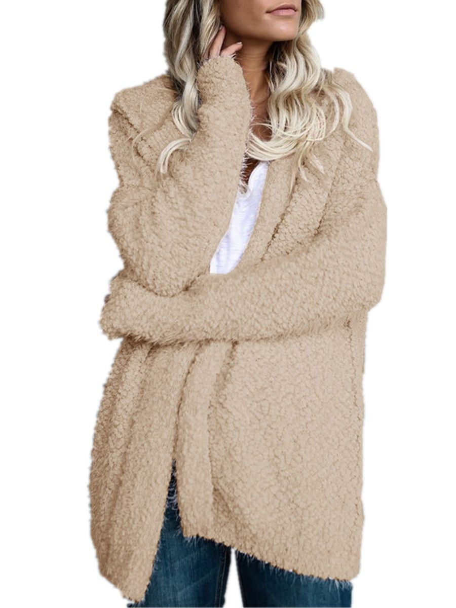 fffbb6811 Buy Women's Cardigan Hooded Solid Color Open Front Long Sleeve Loose ...