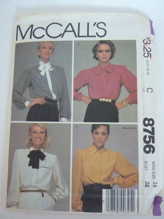 Blouse Pattern 2 Collars Size 16  Bust 38 by BonniesVintageAttic, $8.00