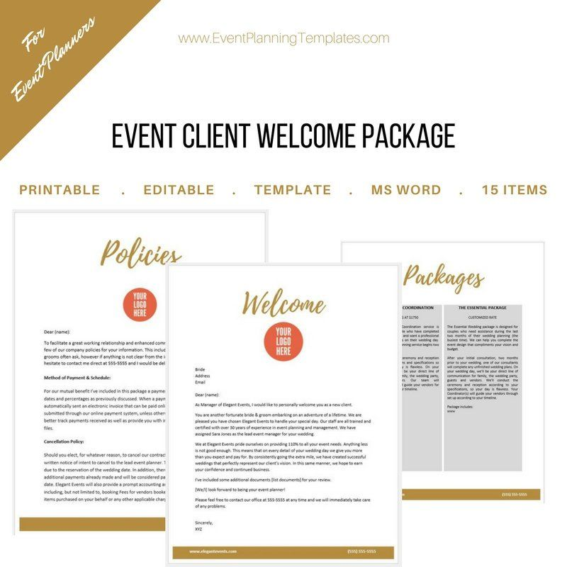 Client Welcome Package For Event And Wedding Planners Event Planning Quotes Event Planning Business Event Planning Pricing