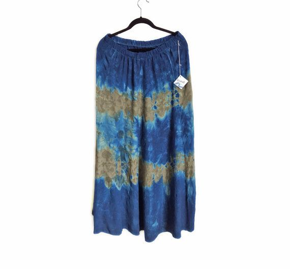Unique floral dyed skirt, indigo + green embossed floral hand-dyed skirt.