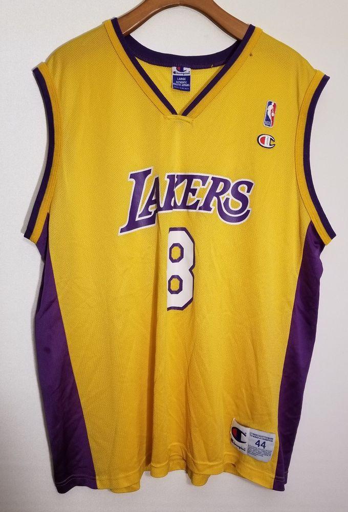 Vtg Champion Jersey Size 44 Kobe Bryant LA Lakers  8 NBA Black Mamba Rare   91833eba4