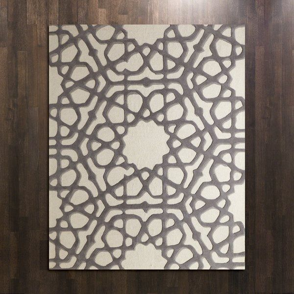 Rose Window Hand Tufted Wool Gray Area Rug Flooring In