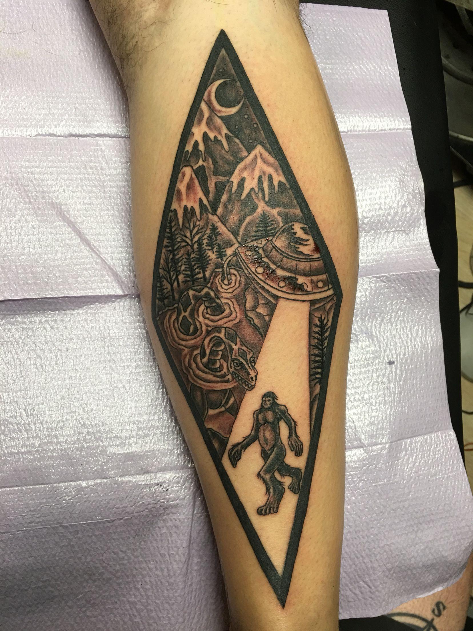 Alien Big Foot Nessie Tattoo By Joe Body Art Tattoo In Burlington Vt Body Art Tattoos Foot Tattoo Tattoos