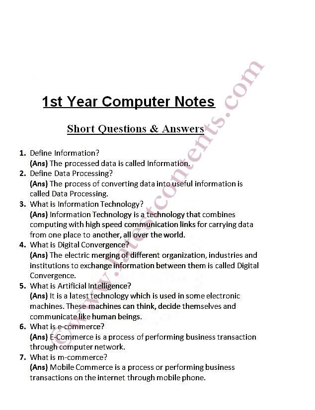 1st Year Computer Important Short Questions Notes | Computer in 2019