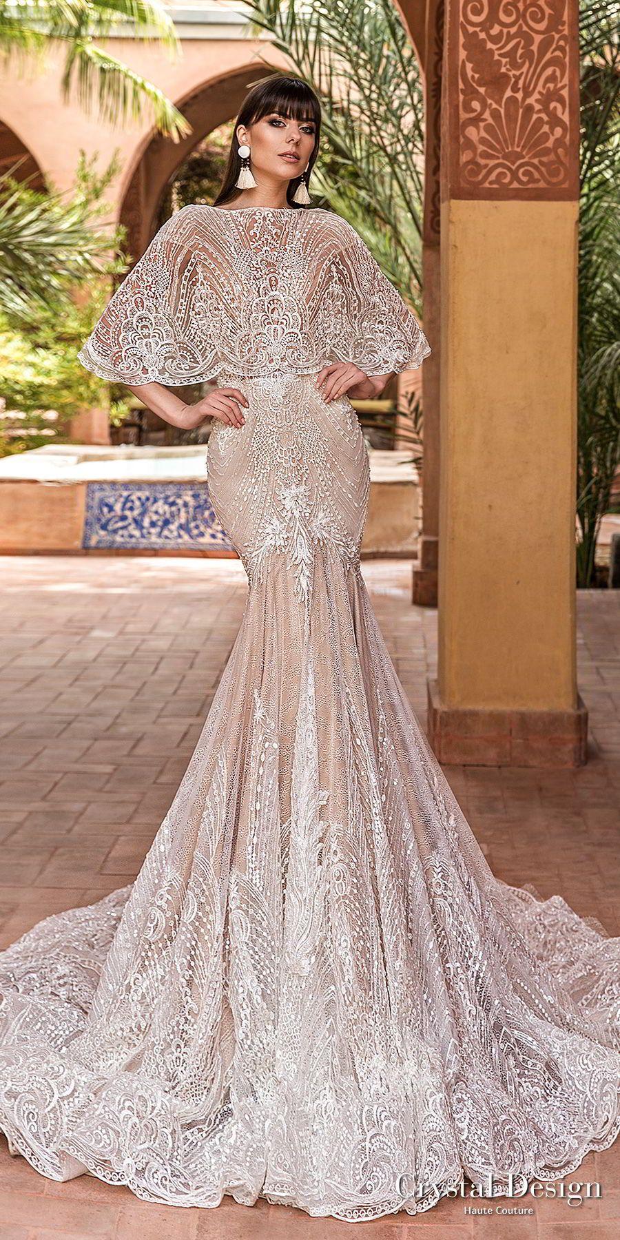 Crystal Design 2018 Cap Sleeves Deep V Neck Full Embellishment Elegant Trumpet Wedding Dress Capelet Open Back Chapel Train Liberty Mv