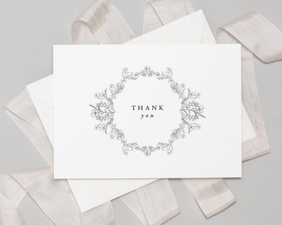 Floral Thank You Cards Wedding | Wedding Thank You Cards | Note Cards with Envelopes | Bridal Shower #businessthankyoucards
