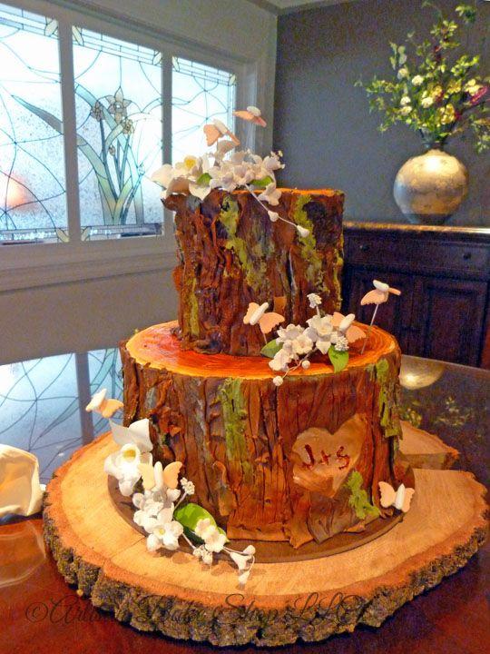 Redwood Log Slice Tree Trunk Cake