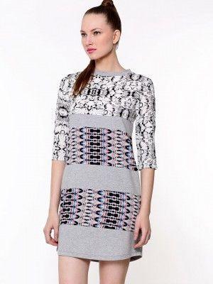c99fa0caa9bf3 KOOVS Multi Print Sweatshirt Tunic Dress on koovs.com in india ...