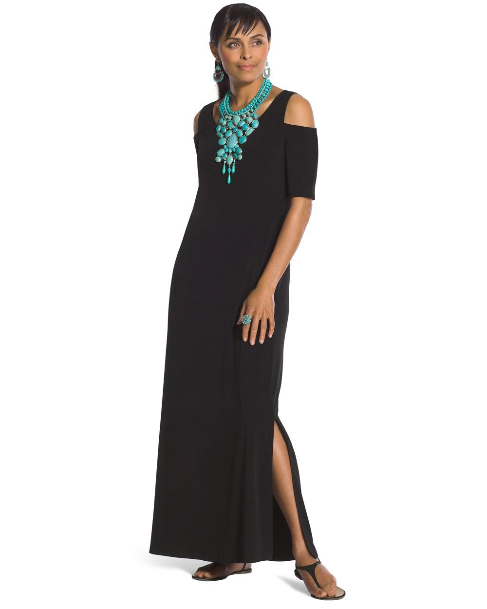bfe25a1db71 Chico s Women s Cold-Shoulder Maxi Dress