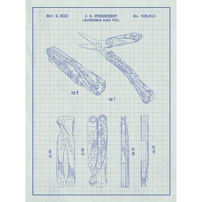 Inked and Screened Outdoor Gear 'Leatherman Hand Tool' Silk Screen Print Graphic Art in White Grid/Blue Ink