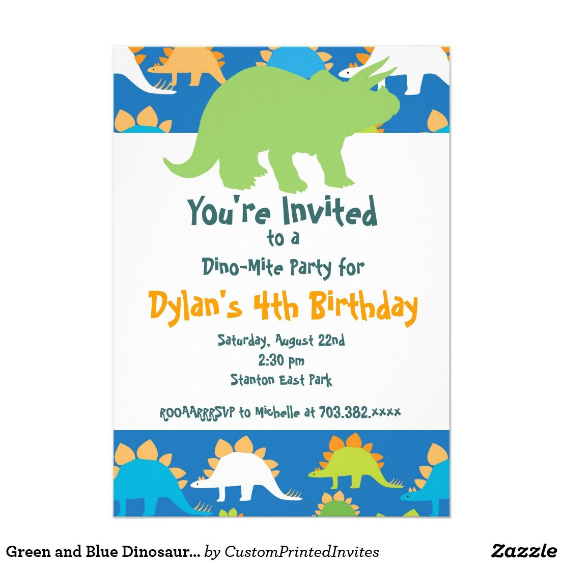 Green and Blue Dinosaur Birthday Party Invitations | Pinterest ...