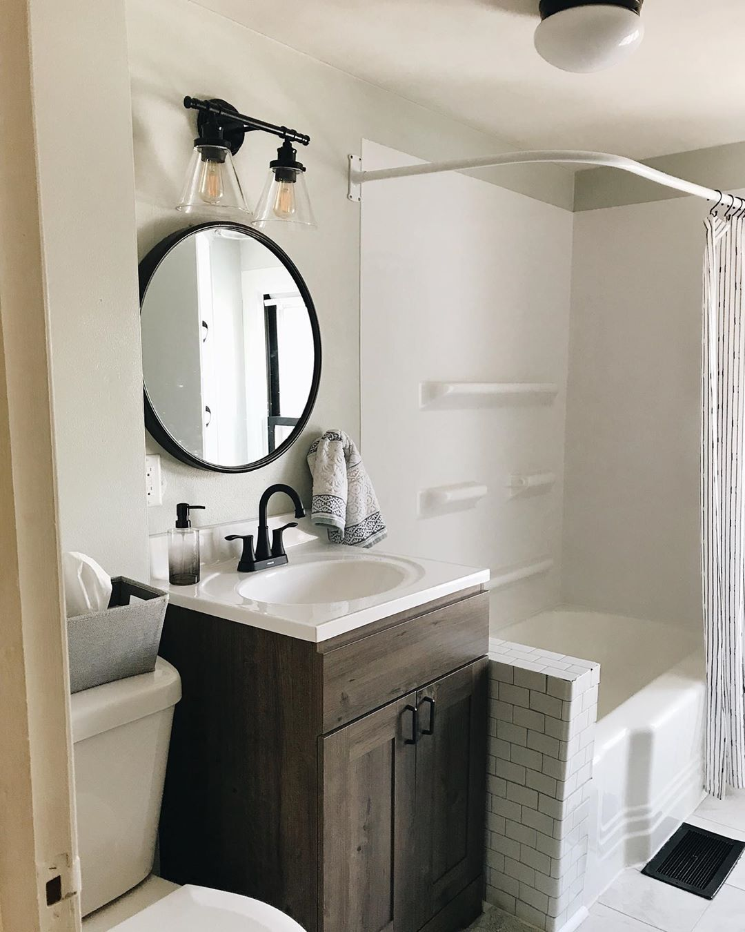 Katie On Instagram Renovations Don T Have To Cost A Lot Of Money And They Don T Mean You Need To Tear Down Walls In 2020 Round Mirror Bathroom Bathroom Renovations