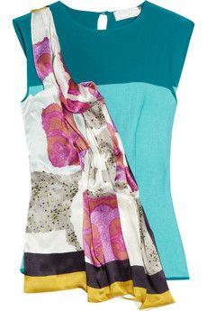 Michael van der Ham Collage printed silk-blend top