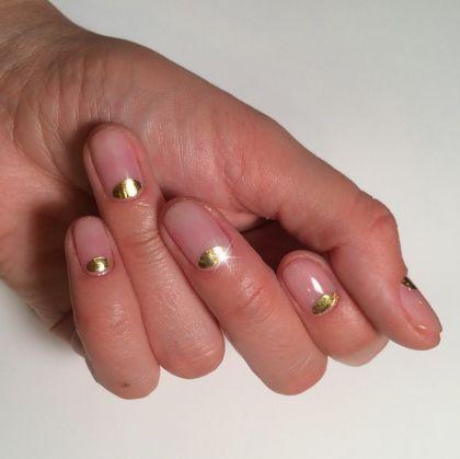 Metallic mini-moon mani. #gold #manicure #nailart
