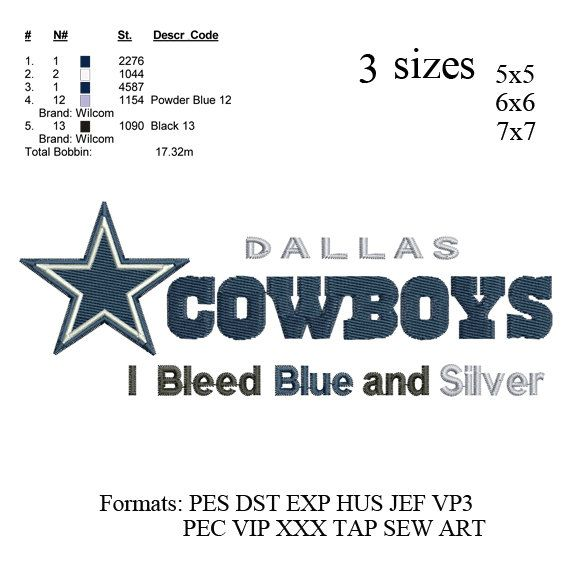 Dallas Cowboys Logo Embroidery Designs Instant Download Machine