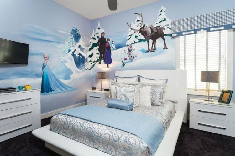 Déco Chambre Enfant Sur Le Thème De La Reine Des Neiges Peinture - Canapé convertible scandinave pour noël chambre bébé décoration murale