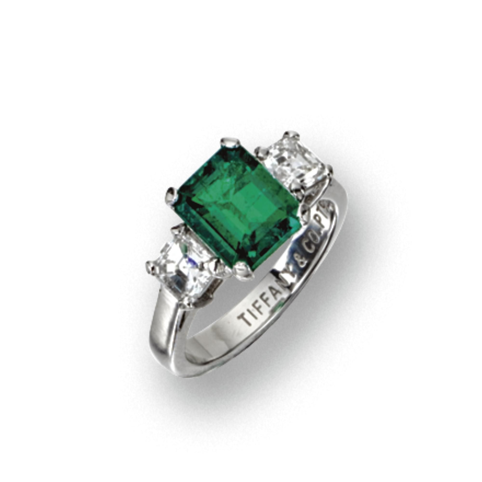 Emerald And Diamond Ring Tiffany Co The Emerald Cut Emerald Weighing   Carats Flanked By  Square Cut Diamonds Weighing Approximately   Carat