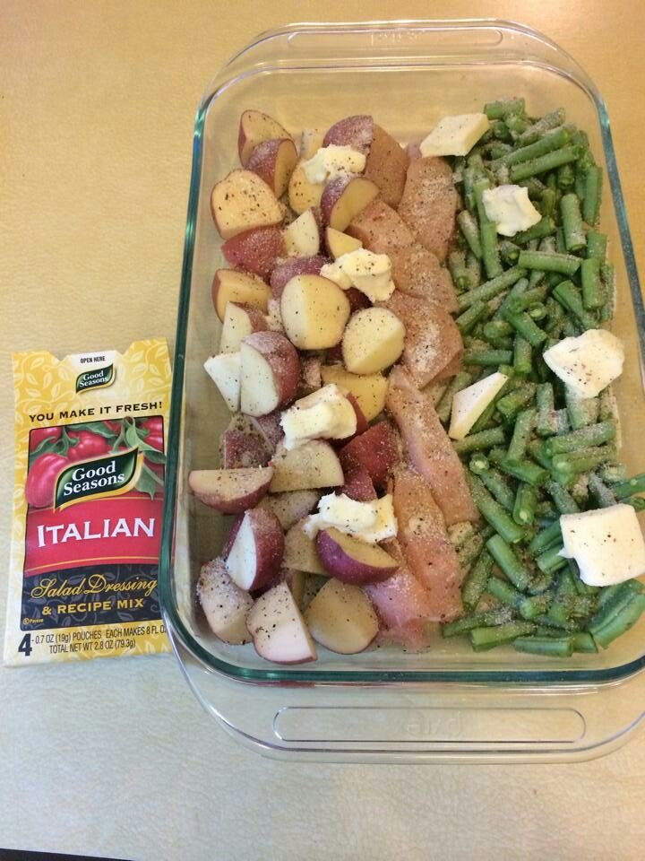 cut up chicken, red skin potatoes, and fresh green beans... line them in 9x13 pan. cut up a stick of butter and spread packet of italian seasoning all over (i use garlic as well) cover with foil and bake at 350 for 1hr...SUPER EASY! and chicken is very juicy