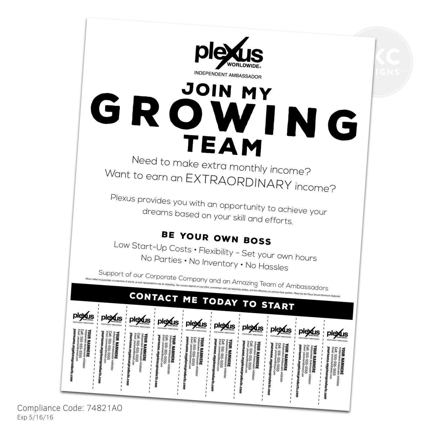 Plexus Business Building Flyer With Tear Off Tabs by