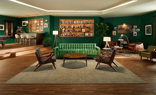 Fabulous Custom Mid Cen Mod Take On The Iconic Green Velvet Chesterfield Sofa From