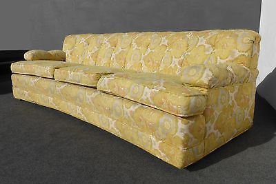 Long Vintage Mid Century Modern Yellow Floral Design SOFA Couch Curved Front