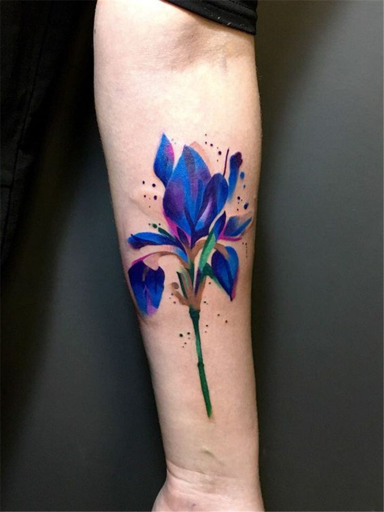 80 Gorgeous Watercolor Floral Tattoo Designs For Women Page 48