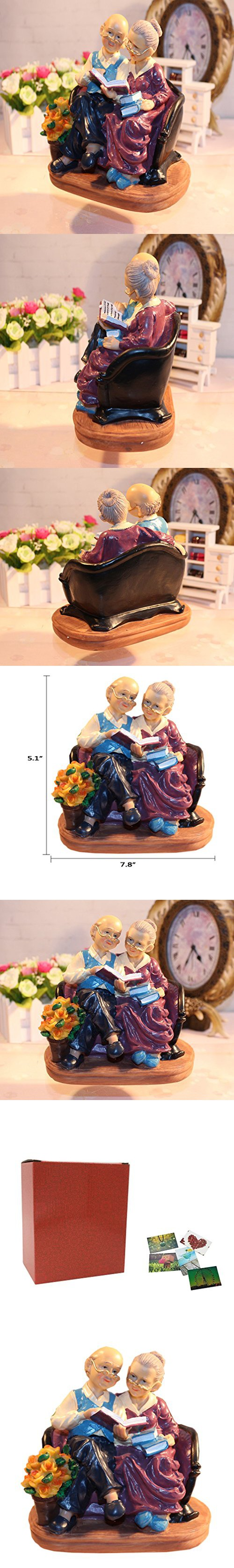 Coostyle Learning Elderly Figurines Loving Old Age Life Resin Home Decorations With Gift Card