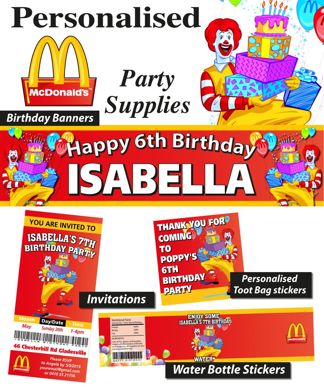Personalised Mcdonalds Birthday Party Banner Decorations Supplies