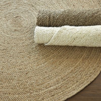 Attractive Round Braided Jute Rug   Drift, Natural Or Bleached $149 To $299
