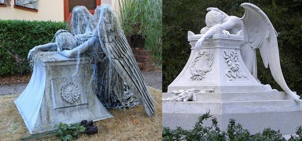 Weeping Angel Monument | headstone | Halloween decorations ...