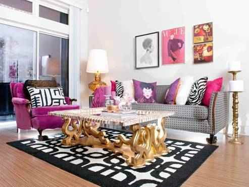 Attractive Hollywood Lam Living Room With Fuchsia Chair, Gold Table, And Patterned  Black And White