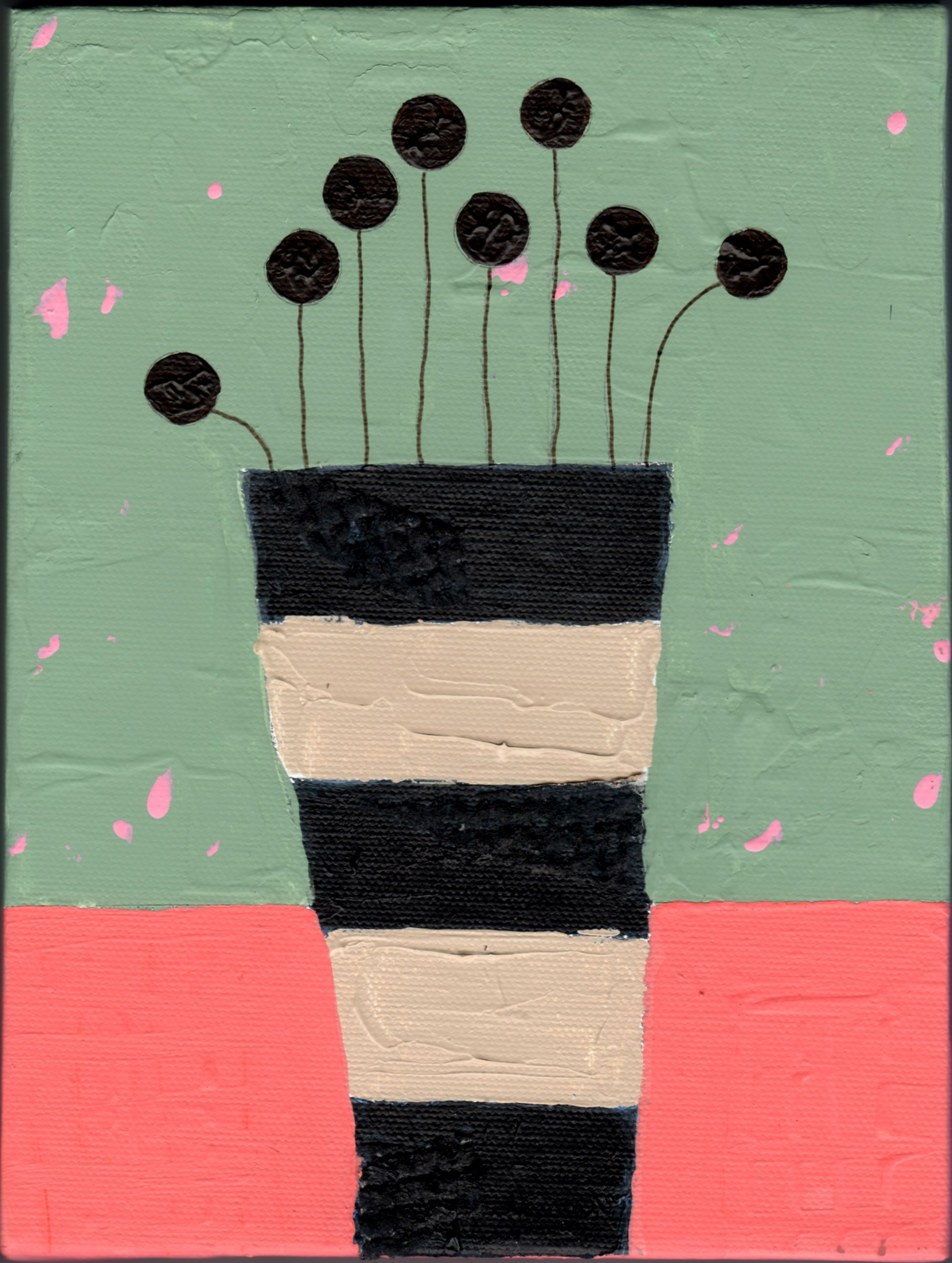 "eileen tomson ""stripe vase"" acrylic painting"
