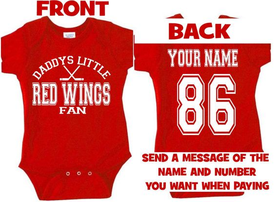 brand new c27c4 a6880 daddys mommy Red wings baby jersey customized personalized ...