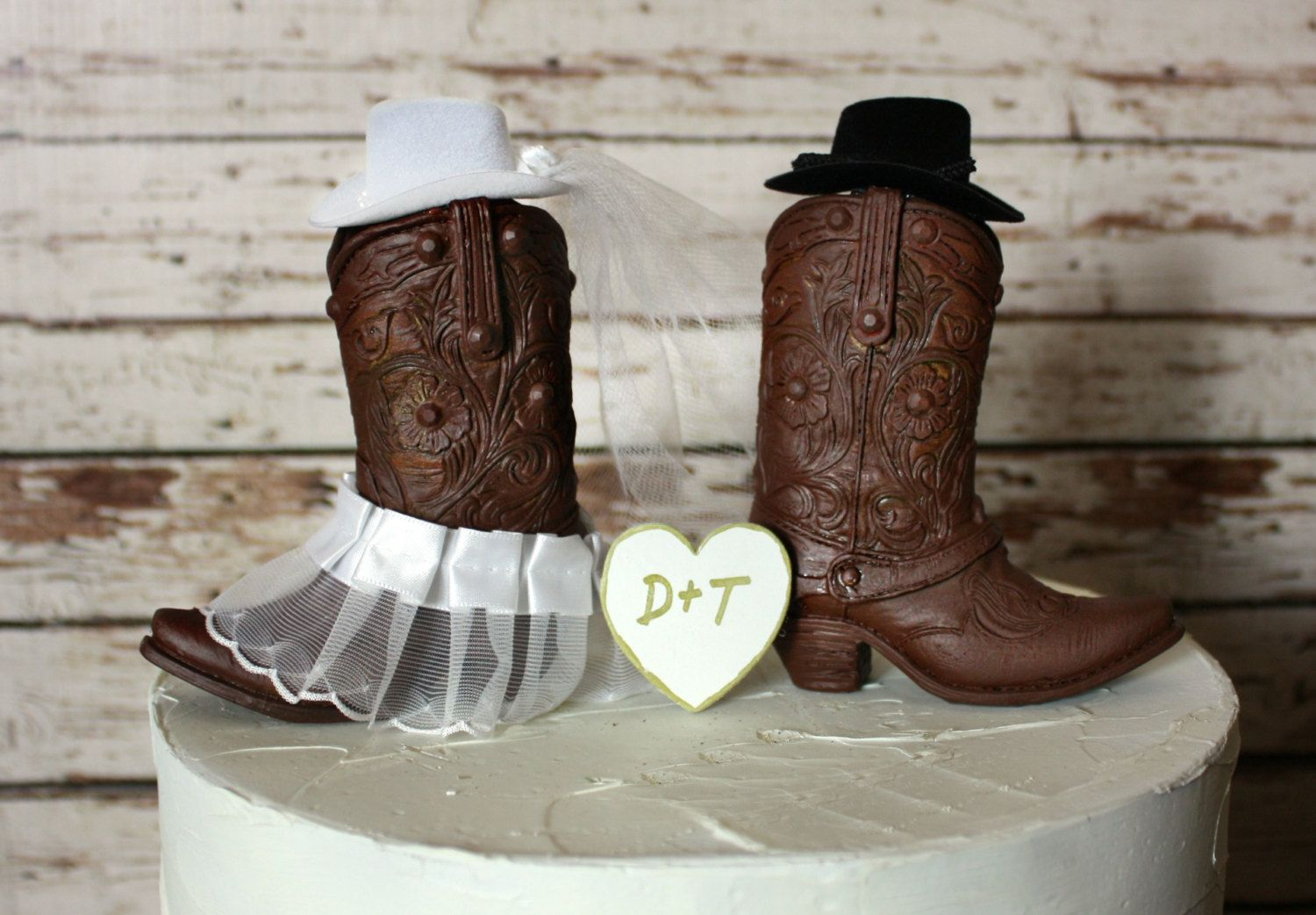 Western Cowboy Boots Wedding Cake Topper