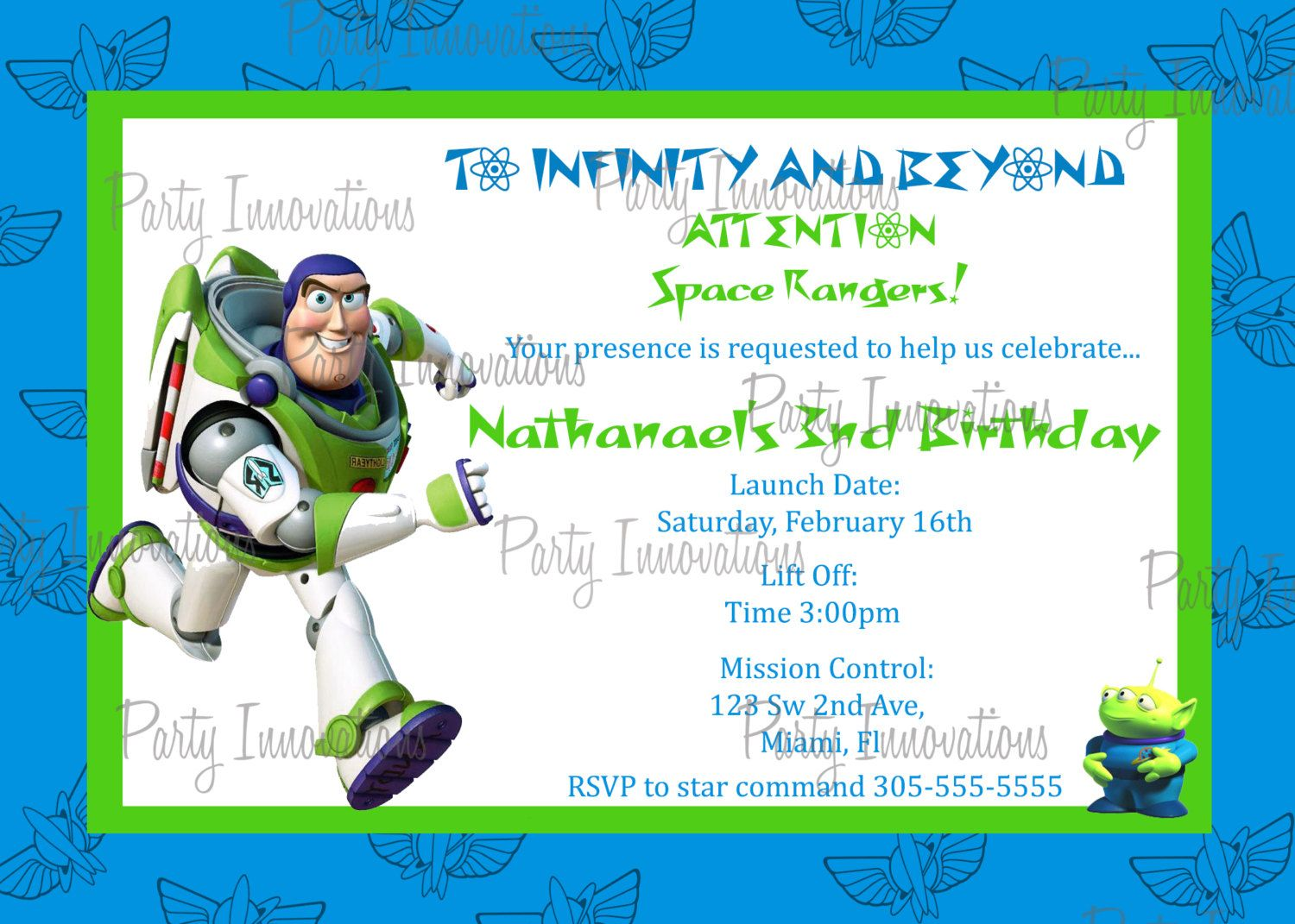 Printable Buzz Lightyear Birthday Party Invitation plus free thank ...