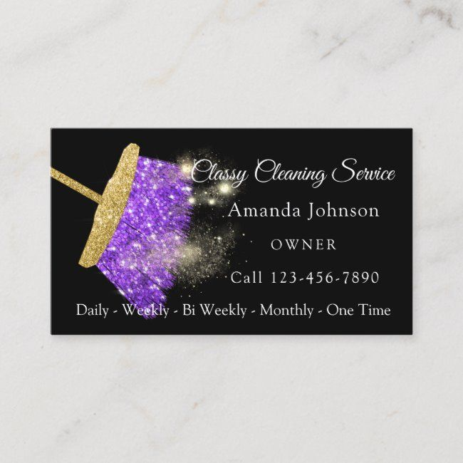 Classy Cleaning Service Elegant Sparkly Purple Business ...