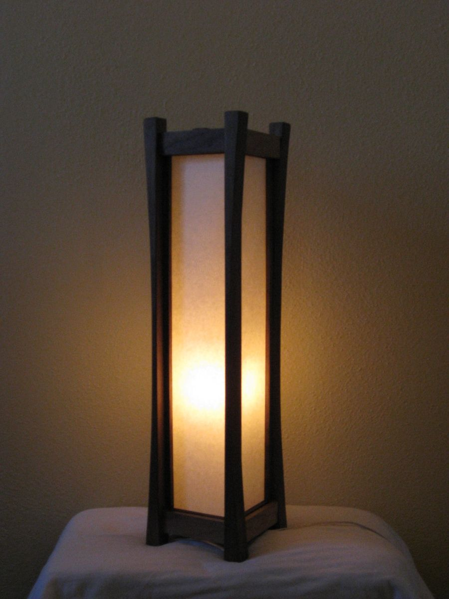 Black Walnut Floor Lamp With Tarditional Washi Paper Shade
