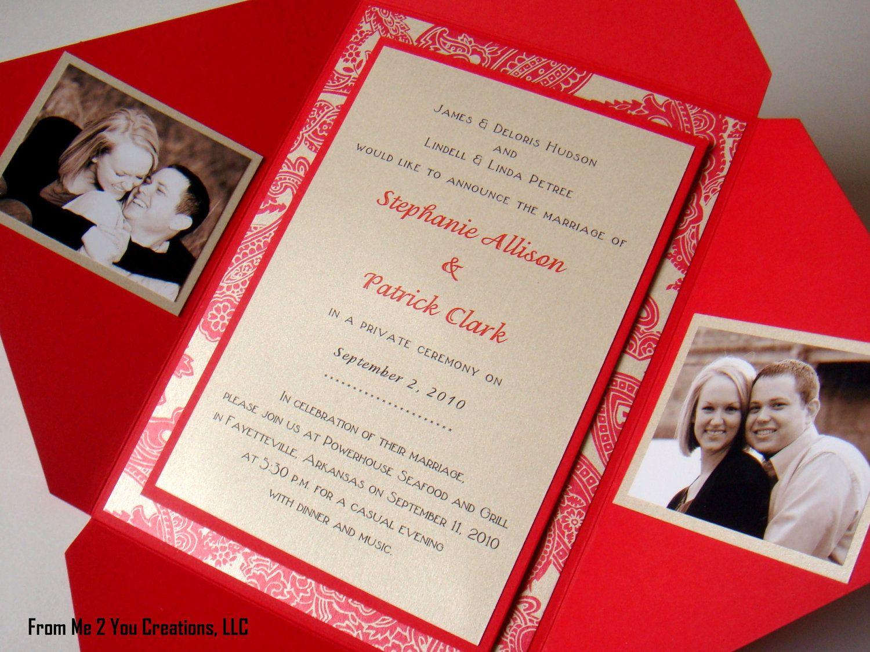 5x7 Champange Gold and Red Wedding Pochette
