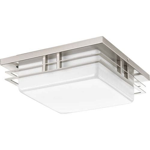 Brand SKU: P3447-0930K9 - Can be either ceiling or wall mounted. - White Acrylic - Includes 6-Inches of wire. - Five year warranty - Bulb (s) included. Progress Lighting - 9434470930K9 | Progress Lighting P3447-0930K9 P3447-0930K9 Helm One-Light Energy Star LED Flush Mount in Brushed Nickel - Brushed, Mission | Bellacor