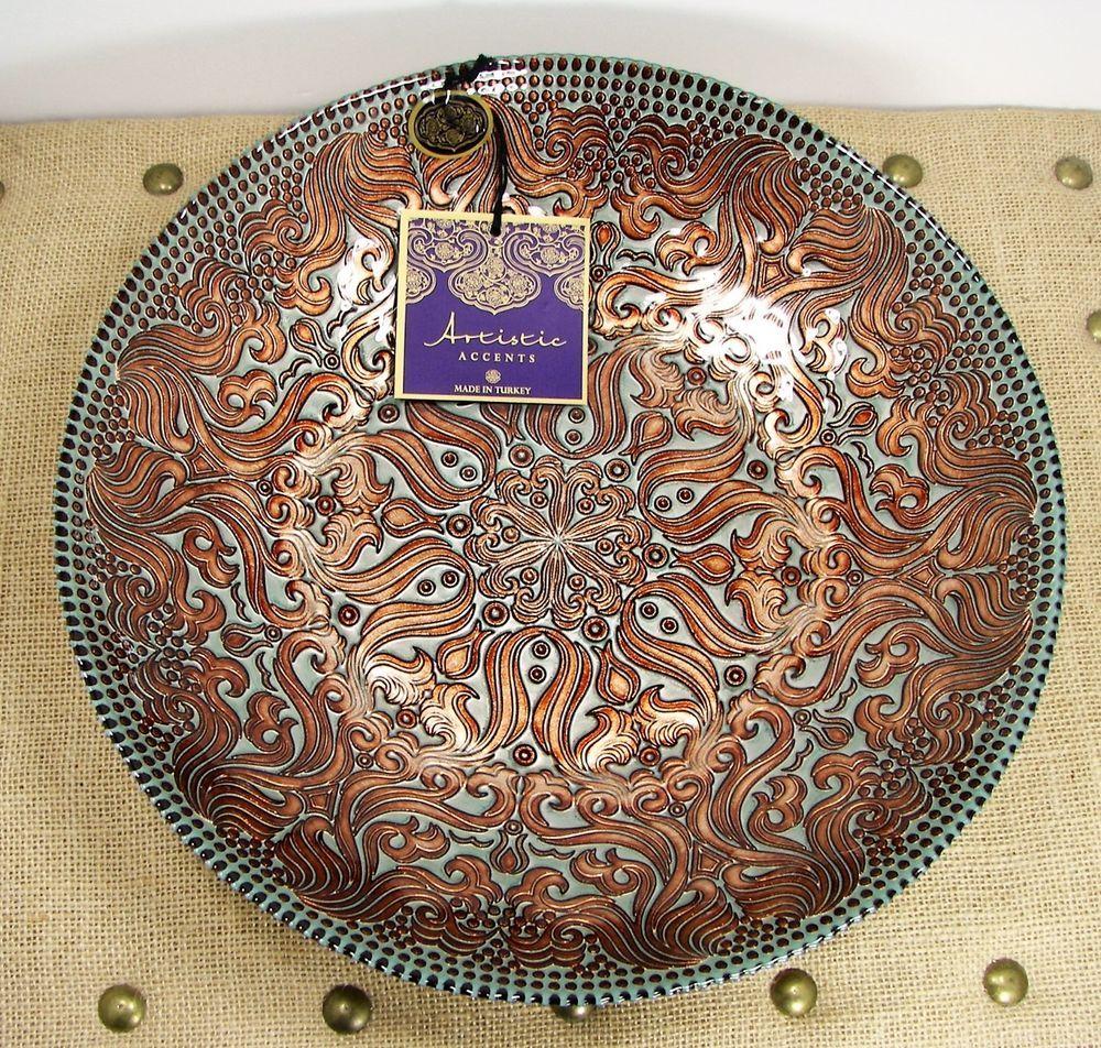 details about artistic accents decorative copper colored design  - artistic accents gray w decorative copper design  turkish glass bowlartisticaccents