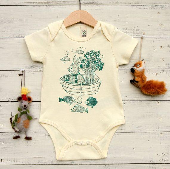 df2dae4e8235 Organic Cotton Baby Bodysuit - Hand Printed Baby Onesie - Rabbit in ...