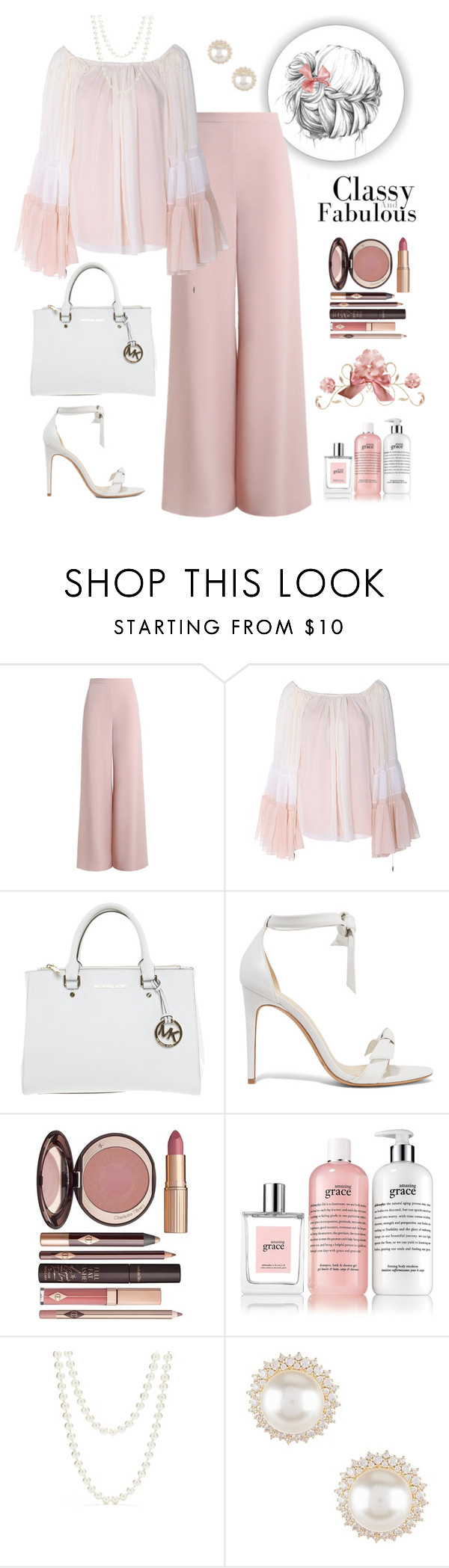 """""""Classy and Fabulous"""" by puppylove7 ❤ liked on Polyvore featuring Zimmermann, Chloé, Michael Kors, Alexandre Birman, Charlotte Tilbury, philosophy, Red Camel and Nadri"""