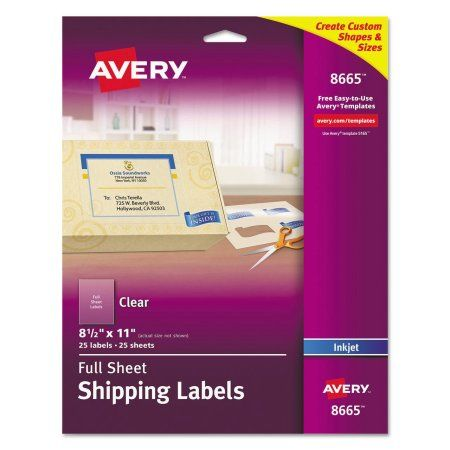 Avery Full Sheet Shipping Labels Permanent Adhesive Matte Frosted Clear 8 1 2 X 11 25 Labels 8665 Walmart Com Avery Shipping Labels Transfer Images To Wood Sheet Labels