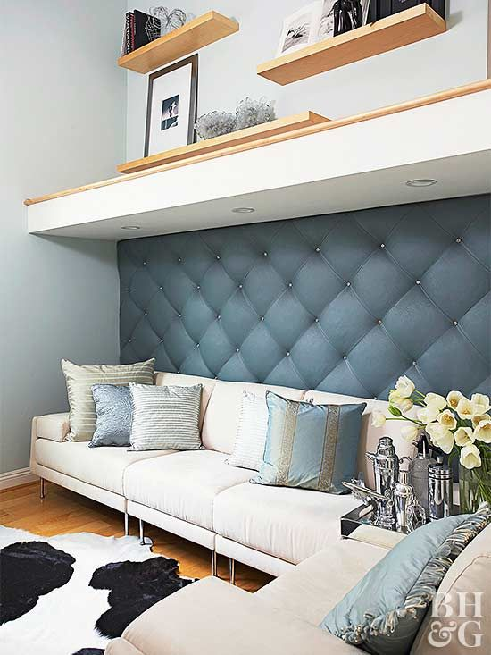 how to diy this chic upholstered wall in 2019 cozy living room rh pinterest com