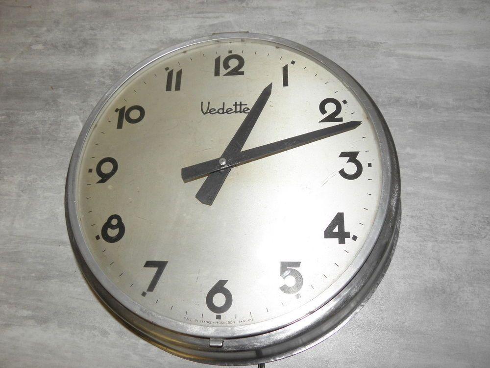 horloge murale metal vedette loft usine horloge de gare vintage horloges vintage clock et wall. Black Bedroom Furniture Sets. Home Design Ideas