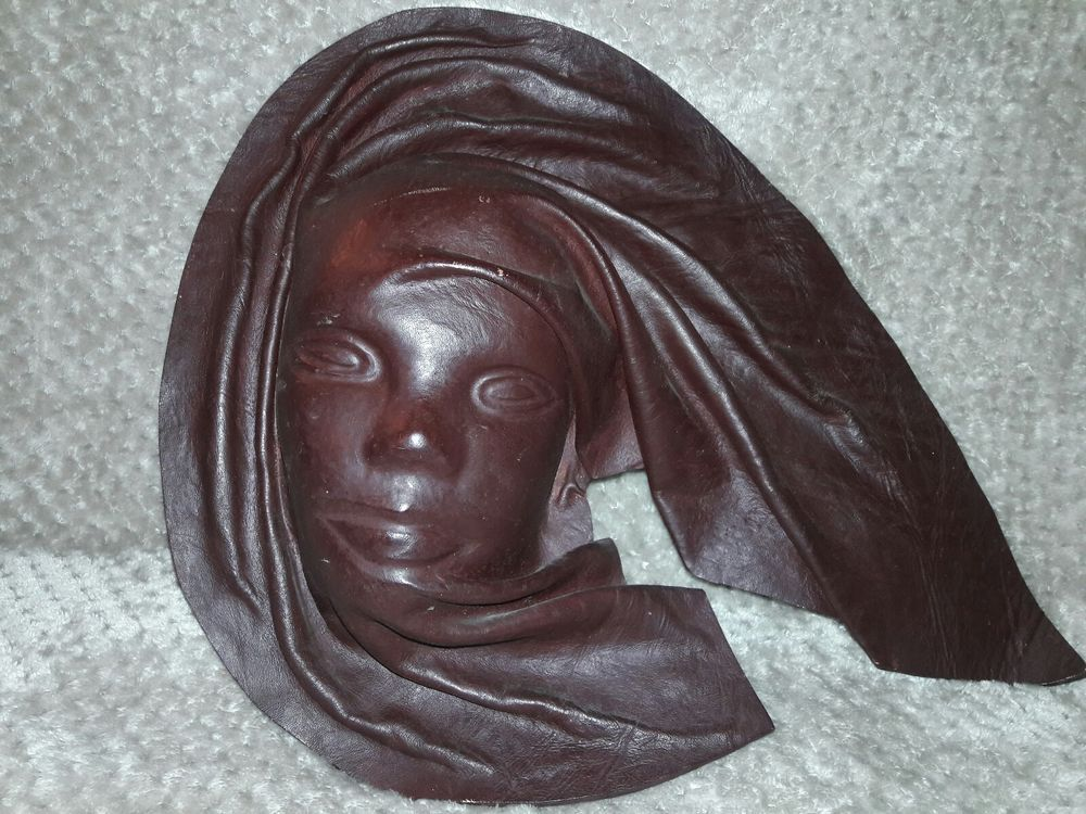 Handcrafted Molded Leather Face Mask Wall Hanging