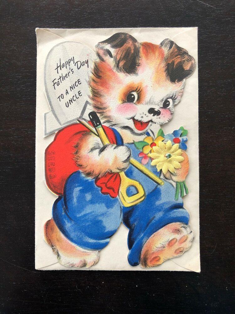 Vtg 1945 Hallmark Anthropomorphic Gardener Puppy Dog Card