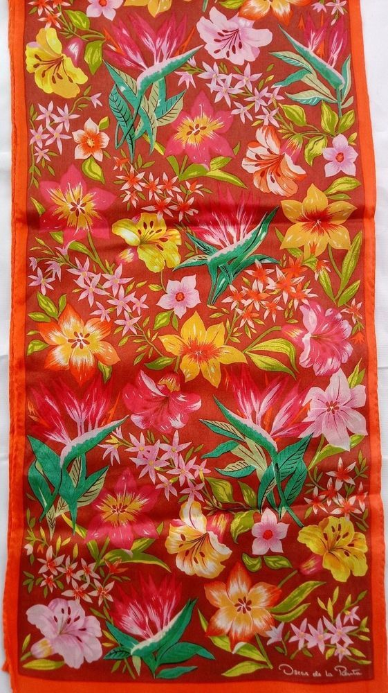 "Vintage Long 50"" Oscar de la Renta Silk Scarf Colorful Floral Mixture Signed #OscardelaRenta #Scarve #Everyday"