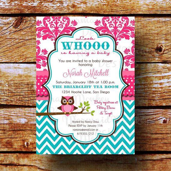 Baby Shower Invitation Owl Shower Invitation Baby Girl Pink