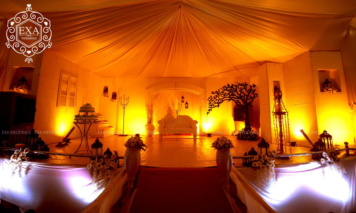 Christian Wedding Reception Stage Decor Warm Theme